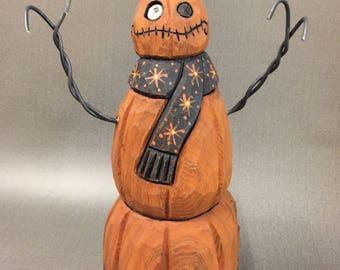 HAND CARVED original Jack-O-Lantern snowman from 100 year old Cottonwood Bark.