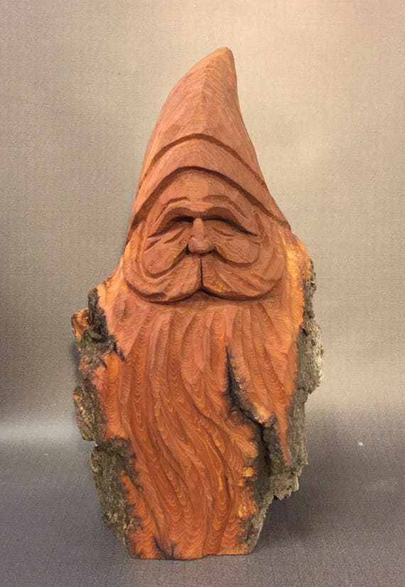 HAND CARVED original nice  Santa bust with natural finish from 100 year old Cottonwood Bark.