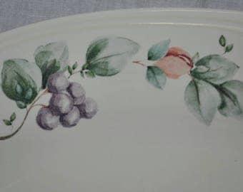 "Pfaltzgraff GRAPEVINE 14-1/2"" Oval Platter Made in USA Purple Green"