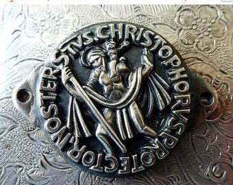 CLEARANCE SALE Large Vintage Art Deco Saint Christopher Silver Medallion Deep Relief Plaque, Patron Saint Of Travelers Protector Of Pilgrims