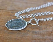 Antique Roman coin necklace ancient coin necklace sterling silver chain Authentic roman coin pendant set in silver