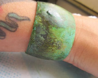 Verdigris Patina Brass Bangle 1 1/2 inch Bracelet Blank 616VER x1
