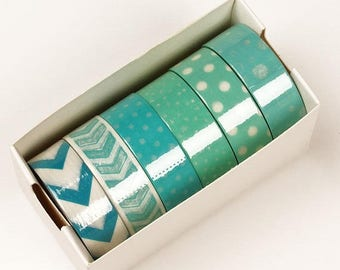STOREWIDE SALE 6 piece packs 10 Yards of Colorful Mint green Pattern Washi Tape Assortment