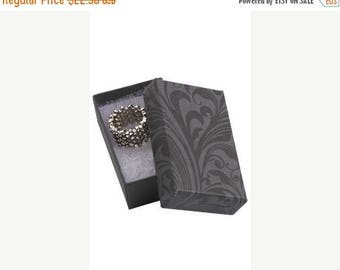 New Years Sale 50 Pack of 2.5X1.5X7/8 Inch Size High Quality Black Fleur Cotton Filled Jewelry Presentation Boxes