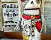 Ondine - large one of kind original, outsider folk, mermaid, folk art dolls, rag dolls, dark art, handmade, ugly dolls, 10.5x19.5