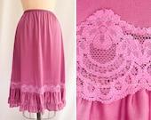 1980s Half Slip | Purple Ruffle  | Vintage 80s Petticoat Slip Lace Inset Ruffled Hem Flounce Dark Lilac Nylon Tricot JC Penney Size L