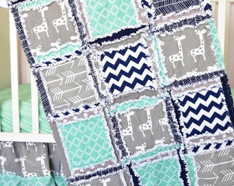 Giraffe Crib Set - Mint / Navy / Gray Baby Bedding Sets - Jungle Nursery- Safari Nursery Decor - Crib Size Rag Quilt / Sheet / Skirt/ Bumper