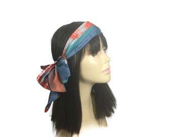 Southwestern Head Scarves 100% Cotton Navajo Print Hair Scarves Fashion Scarves Western Scarves Western Orange Blue Turquoise Brown White