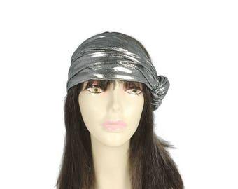 CUSTOM SIZE Silver Turban Metallic Silver Turban Head Wrap 20s Headpiece Retro Silver Turban Boho Turban Metallic Silver Knotted Headband