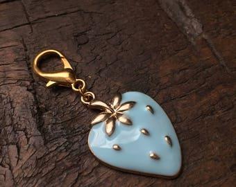 Blue Strawberry Zipper Charm