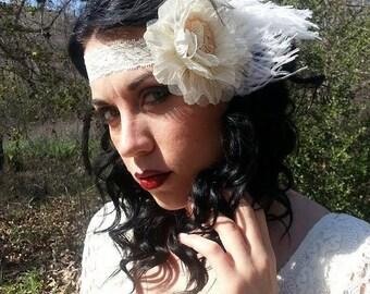 On SALE Victorian, Headband, white ostrich, Retro, Pinup, Wedding, Skull headband