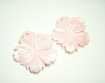 Large Pink Conch Shell Carved Flowers - Pair - 24-25mm