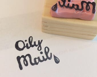 Essential oil rubber stamp//Oily mail stamp// hand carved and hand crafted
