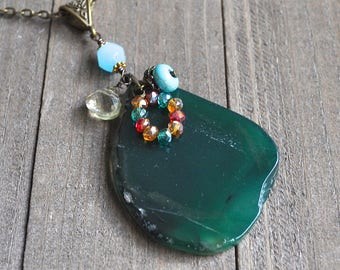 Green Agate Slab Gemstone Necklace Faceted Crystals Turquoise Bead Bohemian Style Hippie Chick Large Pendant