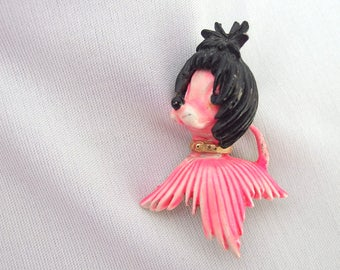 Vintage Pink and Black Dog Brooch / Pin