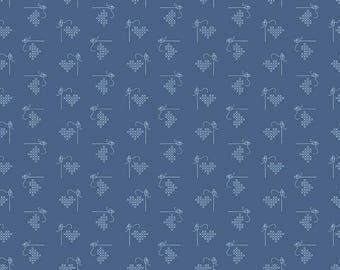 Bee Basics By Lori Holt Heart Blue (C6401-Blue)