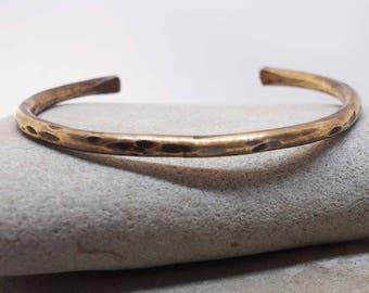 Women's Heavy Rustic Bronze Cuff, 8th Anniversary Gift, Bronze Anniversary, Everyday Cuff