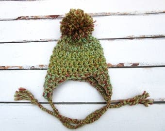 Newborn Winter Hat, Baby Newborn Hat, Newborn Coming Home Hat, Baby Ear Flap Hat, Baby Pom Pom Hat, Newborn Hat, Baby Crochet Hat, Green