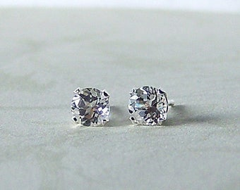 6mm Precision Faceted White Topaz Sterling Silver Stud Earrings, Cavalier Creations