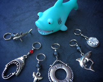 Shark Attack! Set of 6 Shark Themed Stitch Markers for Knitters and Crocheters