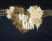 Mr & Mrs. Burlap 9 Ft Grapevine Heart with Lace, Burlap and Linen Flowers Backdrop for Wedding, Swag, Banner Bride and Groom