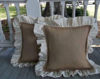 pair ruffled burlap pillows custom burlap pillow shams decorative pillows french country burlap bedroom pillows ruffled