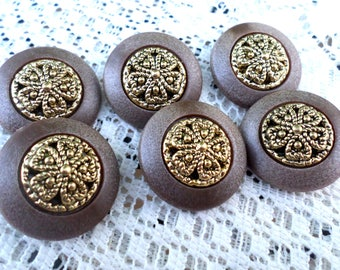 6 Fancy Brown and Gold Floral VINTAGE Buttons 1 Inch