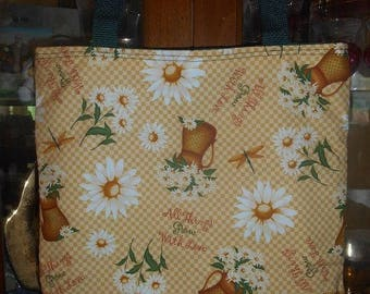 All Things Grow With Love Tote Bag Daisy Dragonfly Handmade Purse