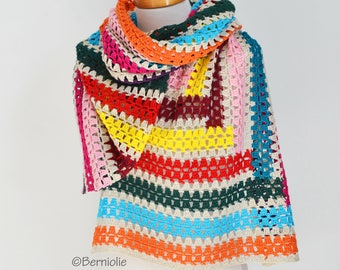 Crochet shawl, stripes, Q535