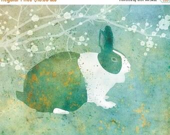50% Off Summer Sale - Bunny Rabbit Art - Belmont - 8x10 Print - Green and Blue - Flowers