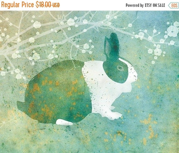 50% Off Summer Sale - Bunny Rabbit Art - Belmont - 8x10 Print - Green and Blue - Flowers