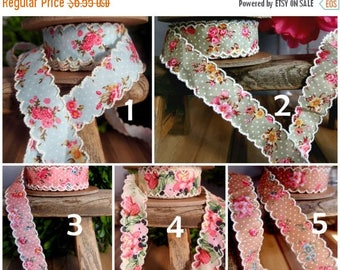 "20% OFF EXP 06/30 1"" Vintage Floral Ribbon with Scalloped Edge - 6 yards- Choose"