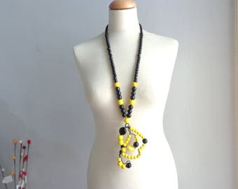 Yellow statement necklace, long necklace, yellow black necklace, wire necklace
