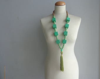 Green necklace, Green long statement necklace, cube necklace, tassel necklace