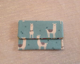 Llamas on Blue Flannel Card Wallet Blue and White
