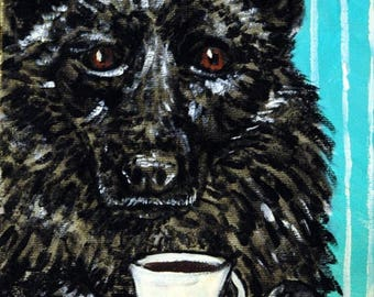 20 % off storewide Shipirke dog art PRINT  poster coffee