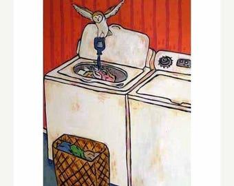 20% off Owl Doing the laundry Art Print