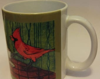 20% off cardinals at the coffee shop cafe bird art mug cup 11 oz dog art mug cup 11 oz gift