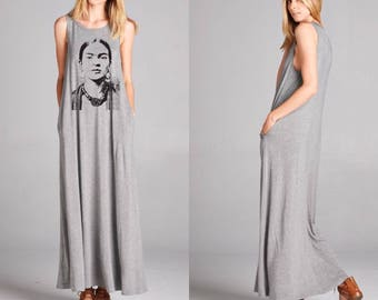 frida maxi dress with pockets