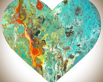 Heart shaped painting Wooden Heart wall art wall decor wall hangings Acrylic Impasto colourful fluid art red green turquoise by QIQIGallery
