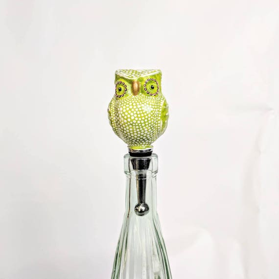 Painted owl glass bottle Stop