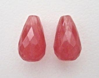 Cherry Quartz Large Faceted Teardrop Beads 12x21mm (2)