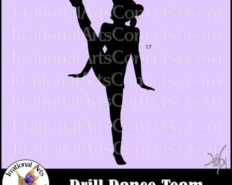 Drill Dance Team Silhouettes Pose 17 - with 1 eps & svg Vinyl Ready files and 1 png digital file and commercial license [INSTANT DOWNLOAD]