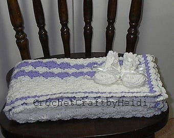 Baby shower gift, White Lavender Crocheted Baby Afghan Blanket