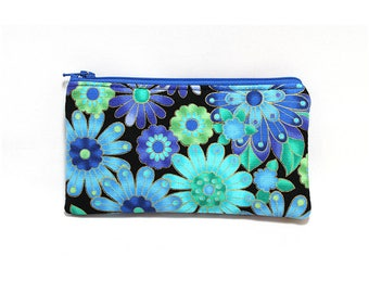 Cosmetic Case, Cord Case, Bridesmaid Gifts, All-Purpose Zipper Case, Gold Trimmed Blue Floral 9079