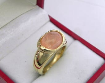 AAAA Peach Morganite  3.28 carats  10x8.1mm in 14K Yellow gold bezel set ring.  0260