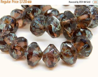 50% OFF Czech Amethyst with Picasso 9x13mm Faceted Fire Polished Glass Saucer Beads (10) 0412