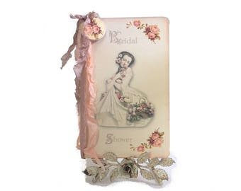 Bridal Shower Guest Book, Shower Gift Registry, Pink Roses Journal, Personalized Bridal Shower Journal, Garden Wedding Guest Book