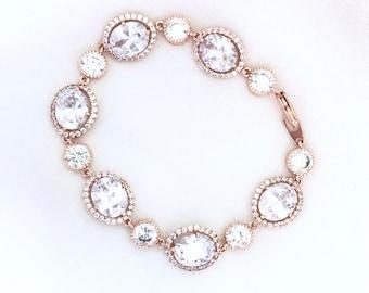 Rose Gold Wedding Bracelet, Rose Gold Bridal Bracelet, Cz bracelet, cubic zirconia bracelet, Oval CZ Rhinestone Wedding Bracelet