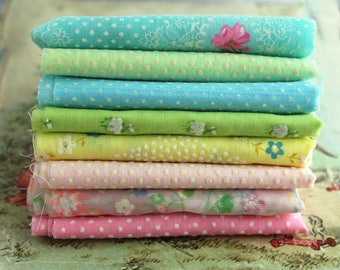 Vintage Flocked Fabric Bundle - Pastel Baby Doll Clothes Hair Bows -  Dotted Swiss Sewing Quilting - Floral Polka Dot Vintage Material